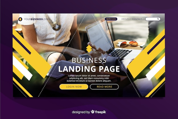 Landing page for business with photo