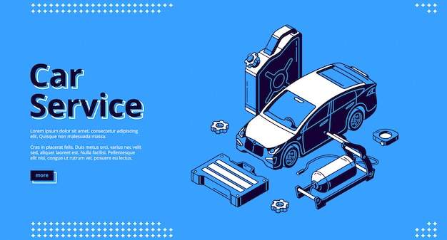 Landing page of car service, auto maintenance