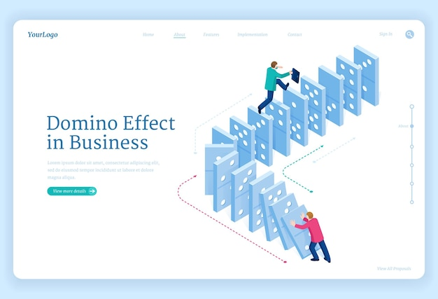Landing page of chain reaction with isometric people man pushes falling domino and one escapes