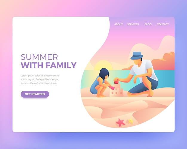 Landing page of child playing with his father on the beach