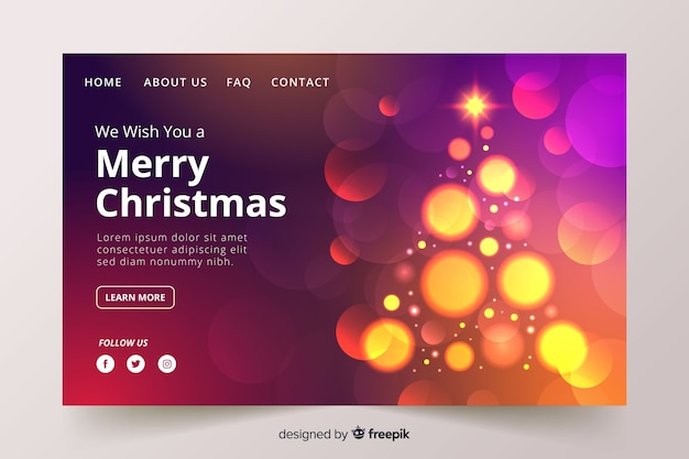 Landing page for christmas with blurred image