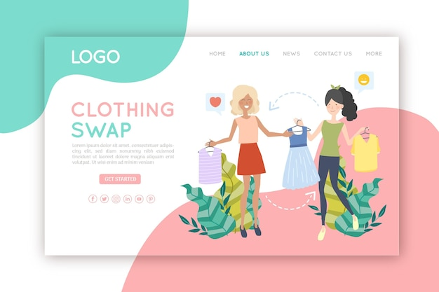 Landing page of clothing swap concept