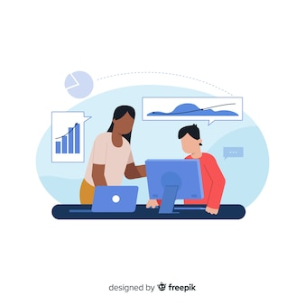 Landing page co-workers concept