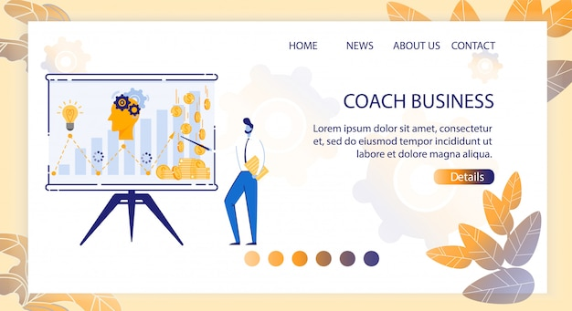 Landing page coach бизнес мультяшный.