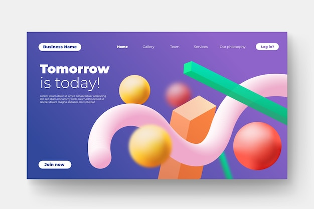Landing page in colorful design