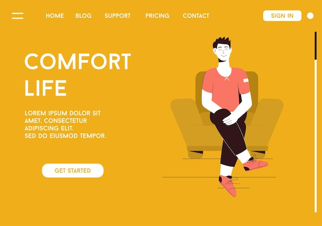 Landing page of comfort life concept
