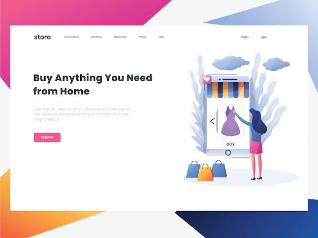 Landing page-commerce online shop landing page