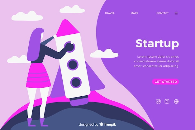Landing page company startup