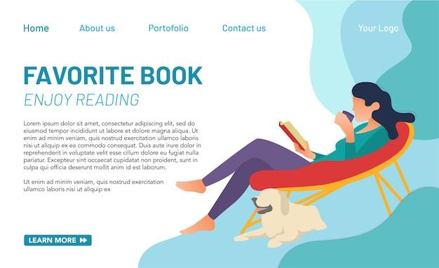 Концепция целевой страницы о хобби чтения книг. концепция в мире образования в интернете