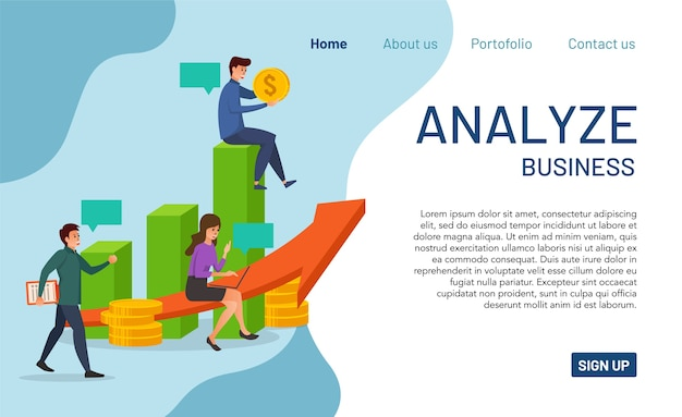 Landing page concept of analyze business. modern   of analyze business for website and mobile app. easy to read and edit