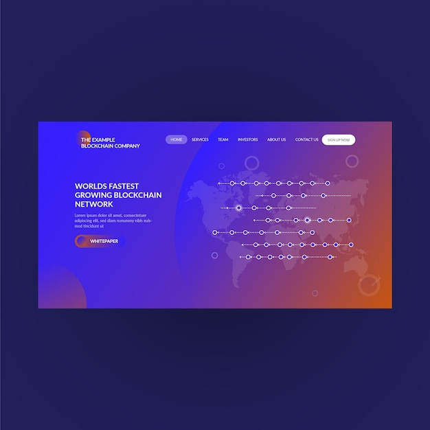 Landing page concept for blockchain network & cryptocurrency