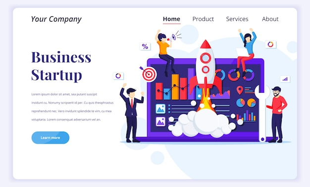 Landing page  concept of business startup.