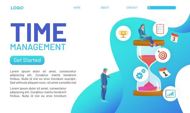 시간 관리를 준수해야 하는 사람들과의 작업 세계에서 랜딩 페이지 개념