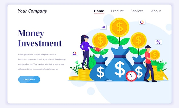 Landing page  concept of money investment