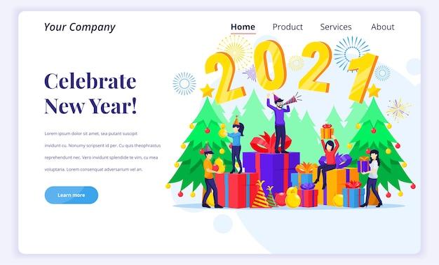 Концепция целевой страницы празднования нового года.