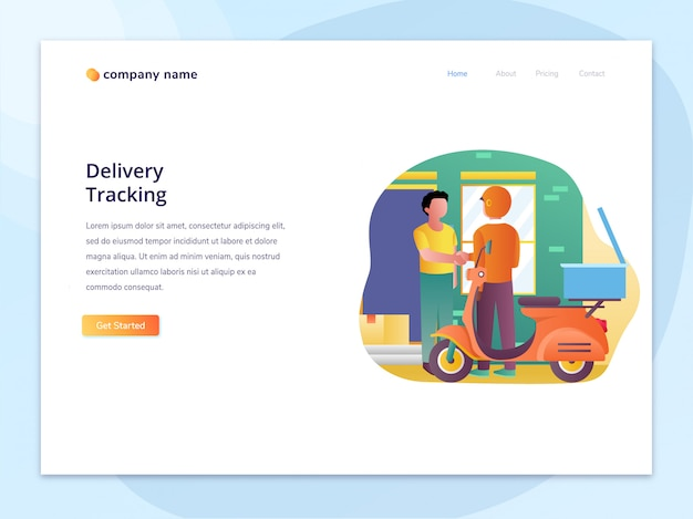Landing page concept of shipping and item tracking illustration