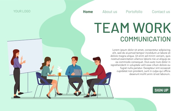 Landing page concept of teamwork and communication.  of modern and colorful teamwork communication