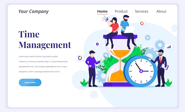 Landing page  concept of time management