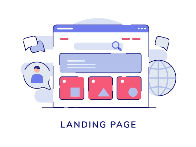 Landing page concept ui wireframe on display computer screen white isolated background