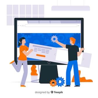 Impostazione del sito web del concetto di pagina di destinazione