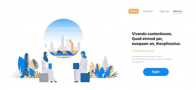 Landing page concept with arabic people