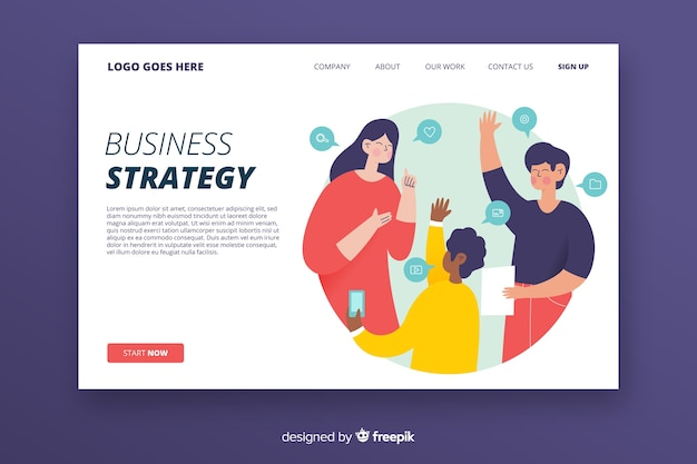 Landing page concept with business strategy
