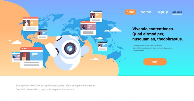 Landing page concept with chatbot