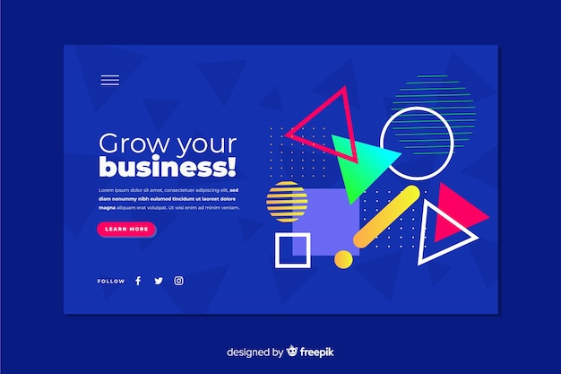 Landing page concept with geometric shapes