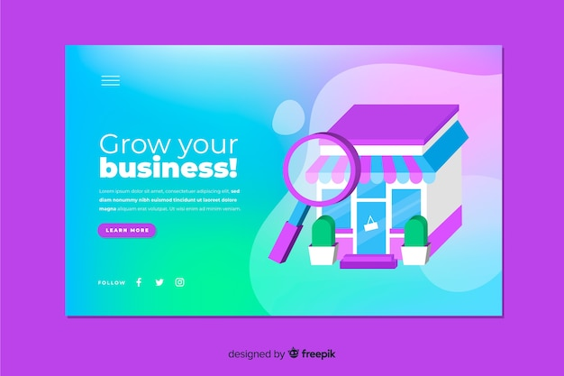 Landing page concept with gradient effect