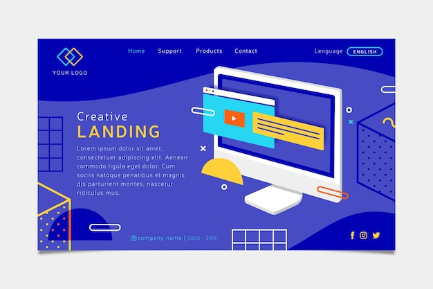 Landing page concept with laptop