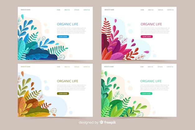 Landing page concept with leaves background