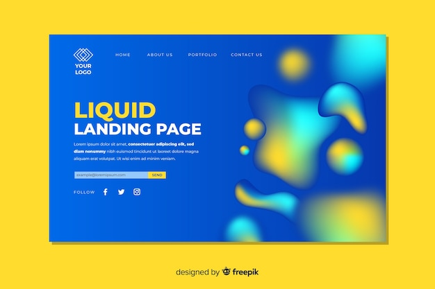 Landing page concept with liquid effect