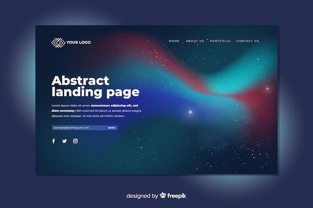 Landing page concept with nothern lights