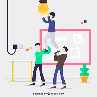 Landing page concept with persons fixing bulb