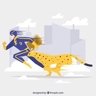 Landing page concept with superhero and cheetah
