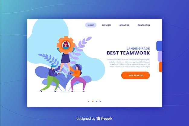 Landing page concept with teamwork