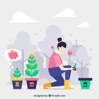 Landing page concept with woman watering