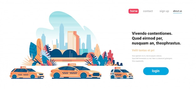 Landing page concept with yellow taxi