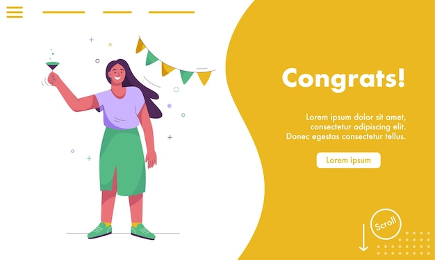 Landing page of congrats concept