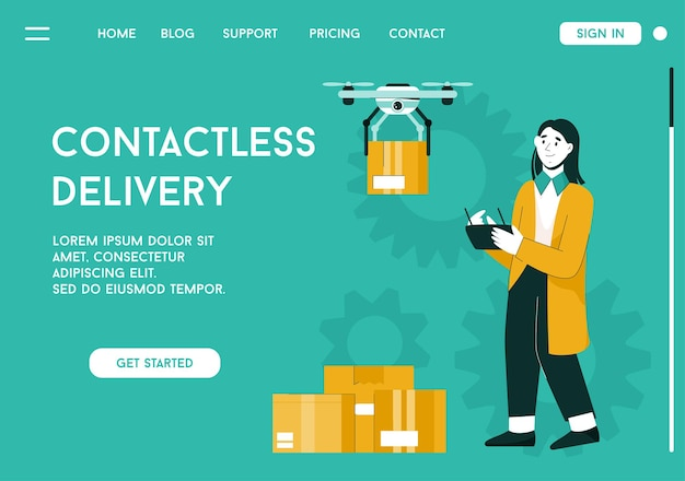Landing page of contactless delivery concept