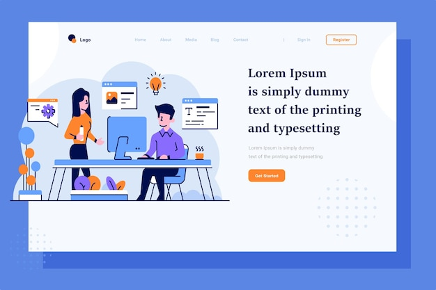 Landing page content creator brainstorming idea flat and outline illustration