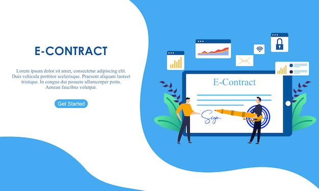Landing page contract digital internet.