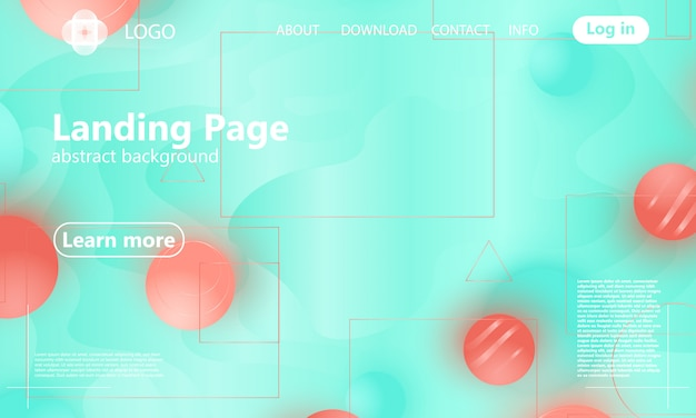 Landing page. coral color. geometric background.