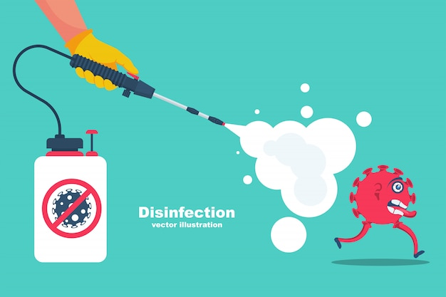 Landing page coronavirus protection. disinfectant concept