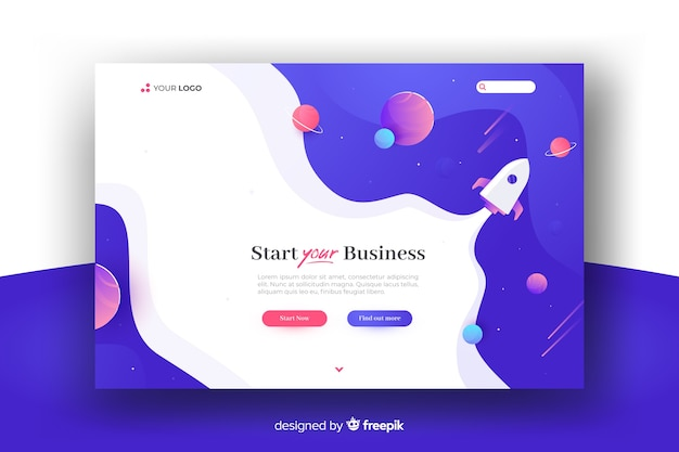 Landing page corporate startup