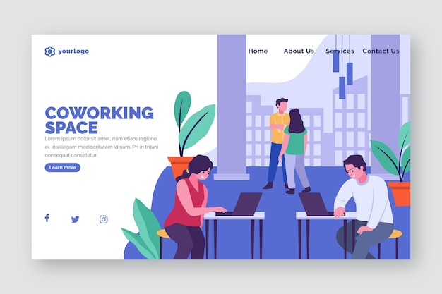 Landing page coworking  office flat hand drawn