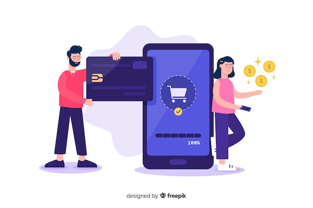 Landing page credit card payment concept