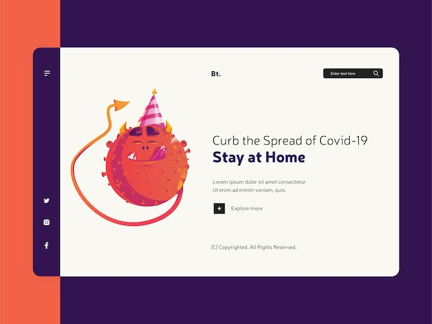 Landing page of curb the spread of covid 19 with cartoon character