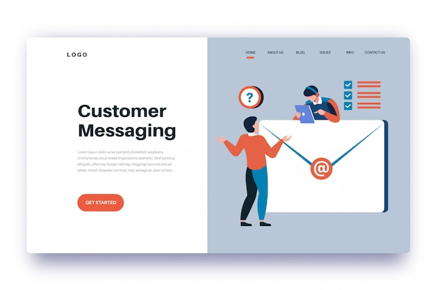Landing page customer messaging