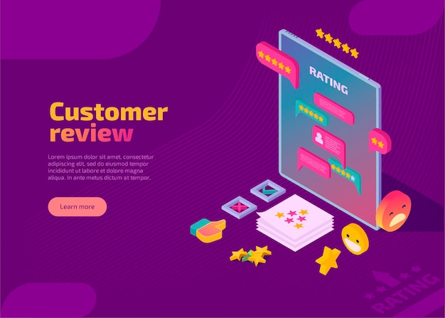 Landing page of customer review, evaluation and feedback in isometric style